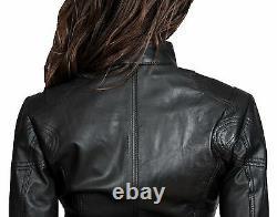 Ladies Real Cuir Biker Veste Design Jenny Femmes Noir Monté Zip Up Manteau