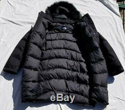 Le North Face Arctic Parka Noir Mi-bas En Fausse Fourrure De Manteau De Veste Cc13 New Nwt