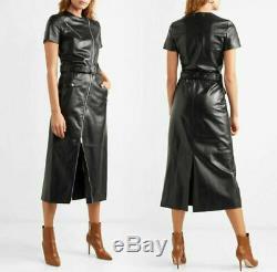 Les Femmes Véritable Veste En Cuir Robe Noire Fermeture À Glissière Complète Avec Retour Slit & Ceinture