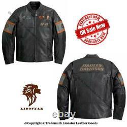 Lionstar Harley Davidson Hd1 Moto Moto Veste En Cuir Véritable