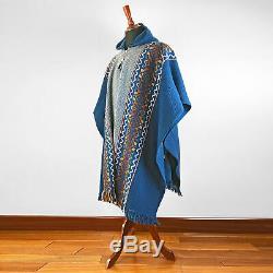 Llama Laine Hommes Unisexe Amérique Du Sud Poncho Avec Capuche Cape Manteau Veste Bleu Marine