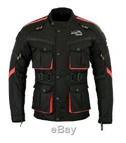 Long Black Moto Moto Veste Imperméable Armure Textile Ce Cordura Royaume-uni