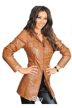 Manteau 3/4 En Cuir Pour Dames Carol Tan High Fashion Dernière Veste En Cuir Soft