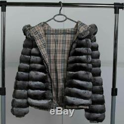 Manteau De Fourrure Des Hommes Chinchilla Avec Capuchon Blouson Fermeture À Glissière Réversible