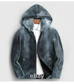 Mens Capuche Fourrure De Vison Manteau Bleu Jean Couleur Saga Mink Coat Fur