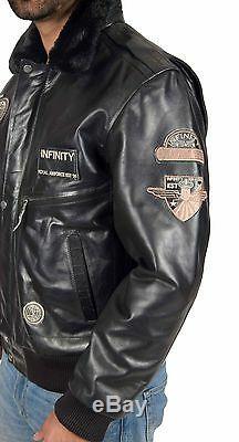 Mens Pilot Veste En Cuir Heavy Duty Black Bomber Aviator Avec Collier Badges Nouveau