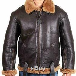 Mens Raf Brown Bomber Pilot Aviator B3 Volant En Peau De Mouton Réel Veste En Cuir