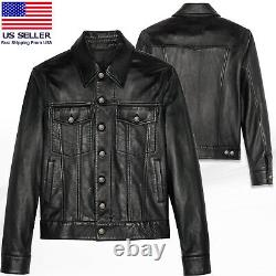 Mens Real Soft Lamb Napa Leather Trucker Iconic Lightweight Leather Jacket