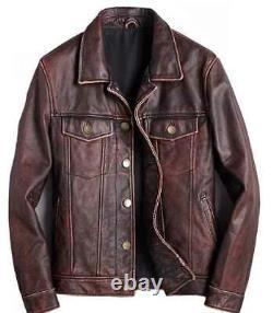 Mens Trucker Brown Real Genuine Leather Biker Cafe Racer Veste Vintage