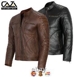 Mens Vintage Cafe Racer Veste En Cuir Véritable Noir Mince MLIM Ciker Jacket