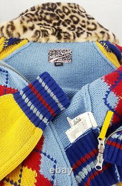 Miss Sixty 60 Femmes Pull Coup De Laine Veste Nerveuse Zip Raglan Argyle Multicolore S