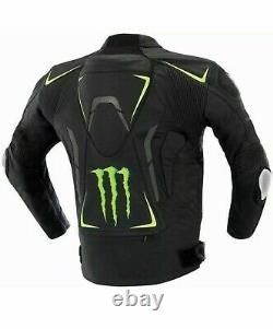 Monster Energy Motorcycle Black Cowhide Leather Racer Veste