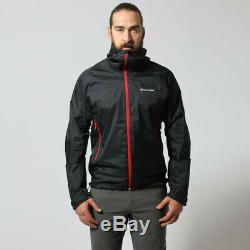 Montane Mens Atomic Outdoor Top Jacket Noir Sports De Plein Air Full Zip Hooded
