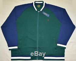New 3xb 3xl Big 3x Polo Ralph Lauren Mens Baseball Jacket Sweat-shirt Bleu Vert