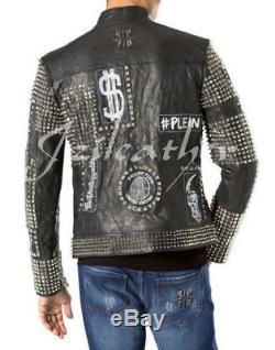 New Black Full Philipp Plein Cloutés Ecussons Brodé Veste En Cuir Biker Hommes