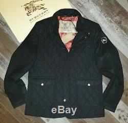 New Burberry Diamond Sandringham Cachemire Homme Noir Veste Matelassée Manteau XL