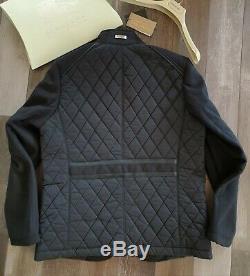 New Burberry Sandringham Hommes Cachemire Black Diamond Matelassée Manteau De La Veste