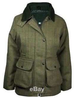 New Ladies Tweed Derby Veste En Laine Imperméable Respirant Chaud Toutes Les Saisons 8-22