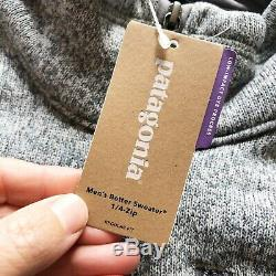 New Patagonia Mens Xlarge XL Better Sweater Fleece 1/4 Zip Jacket Pull Gris
