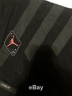 Nike Air Jordan Retro Nylon Legs Coupe-vent Hommes L Noir Gris Veste Tn-o