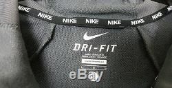 Nike Dri-fit Survêtement Veste + Pantalon Gris Blanc Nouveau Rare (sz Grand Moyen)