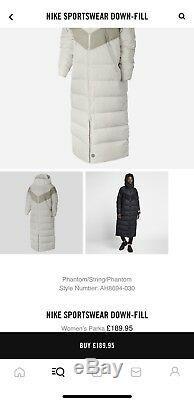 Nike Sportswear Bas Fill Femmes Parka Manteau Avec Tags Moyen Nouveau Format