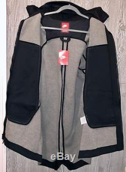 Nike Tech Toison Gris Noir Full Zip Parka À Capuche Veste Manteau Nouveau Mens Sz M L