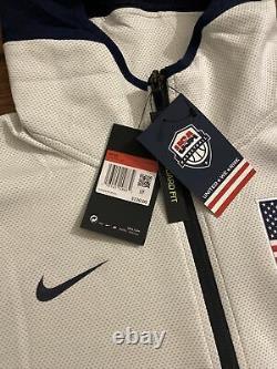 Nike USA Basketball Therma Flex Showtime Hoodie Jacket Sz L Large White USA 130 $