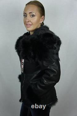 Noir 100% Peau De Mouton Toscana Cisaillement Cuir Lambskin Hood Coat Jacket Xs-7xl