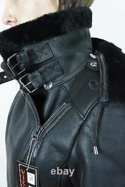 Noir 100% Shearling Leather Sheepskin Pilot Bomber Aviator Jacket Coat Xs 6xl