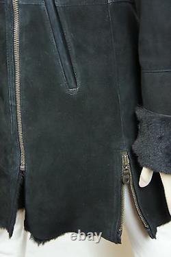 Nouveau 100% Real Genuine Shearling Suede Leather Black Coat Jacket Fur Warm, Xs-6xl