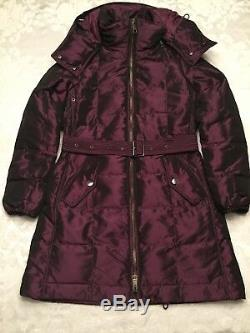 Nouveau 995,00 $ Burberry Quilted Puffer Manteau Veste Bourgogne Tn-o Taille S