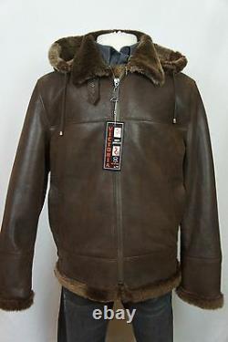 Nouveau B3 Men 100% Sheepskin Shearling Leather Bomber Aviator Flight Jacket S-7xl
