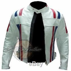 Nouveau Custom 7288 Moto Moto Biker Racing Real Blanc Veste En Cuir Manteau
