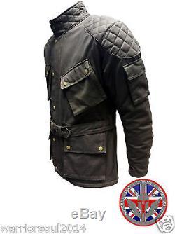 Nouveau Homme Noir Cotton Waxed Moto Respirant, Doublé Wp, Armor Biker Jacket