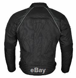Nouveau Hommes Noir Moto Textile Veste Imperméable Cordura Moto Ce Armures