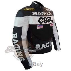 Nouveau Honda Cbr Fait À La Main En Cuir Noir Moto Racing Moto Biker Jacket
