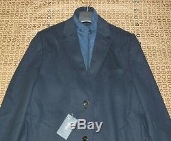 Nouveau Hugo Boss Mens Costume En Laine De Cachemire Bleu Longue Veste Trench-coat 46r 56 XXL