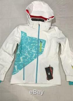 Nouveau Spyder Femmes Pandora Primaloft Ski Capuche Veste Hiver, Blanc, Taille 10