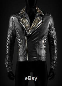 Nouveau Versace D'or D'argent Clouté Hommes Noir Veste En Peau De Vache En Cuir Toutes Les Tailles