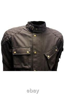 Nouvelle Moto Moto Black Wax Cotton Wp Armour Biker Cotton Wax Jacket