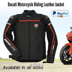Nouvelle Veste En Cuir Ducati Hommes Noir New La Moto Veste En Cuir