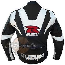 Nouvelle Veste Suzuki Gsx Moto Noir Moto Motard Cuir Cuir Blindé