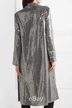 Nwt Alice + Olivia 895 $ Petite Veste Us 4 8 Long Blazer À Sequins Gris Argentés Nouveau