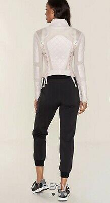 Nwt Femmes Blanc Noir Cuir Mesh Moto Rose Taille S
