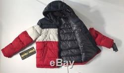 Nwt Tommy Hilfiger Manteau Puffer Manteau Rouge / Blanc / Bleu Classique Homme Taille L