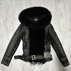 Philipp Plein Real Fox Fur Trim Veste En Cuir Véritable Noir Pour Femmes