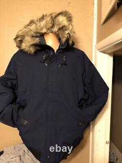 Polo Ralph Lauren Hommes Bleu Bas Puffer Bomber Veste À Capuche Manteau XL