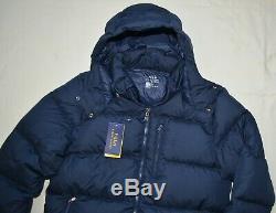 Polo Ralph Lauren Mens Veste En Duvet D'hiver Manteau XXL Nouveau 2xl Capuche À Capuchon Bleu Marine