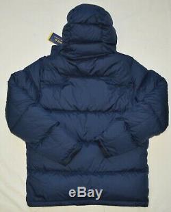 Polo Ralph Lauren Mens Veste En Duvet D'hiver Moyen Nouvelle Couche M Capuche À Capuchon Bleu Nwt
